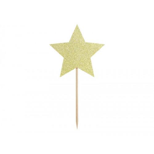 Cupcake Toppers Stjärnor i Guld