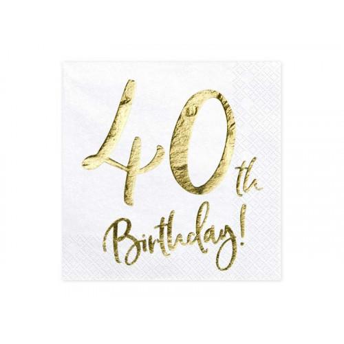 Partydeco Servetter 40th Birthday