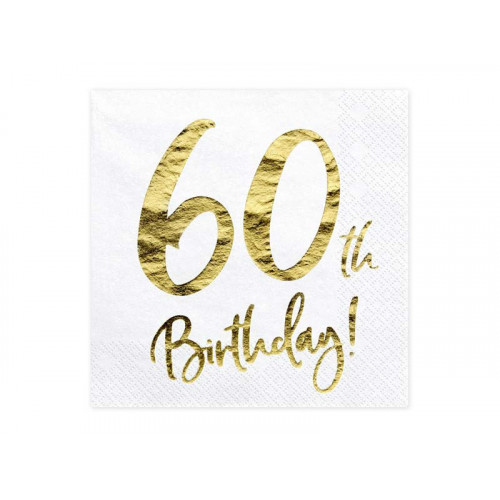 Partydeco Servetter 60th Birthday