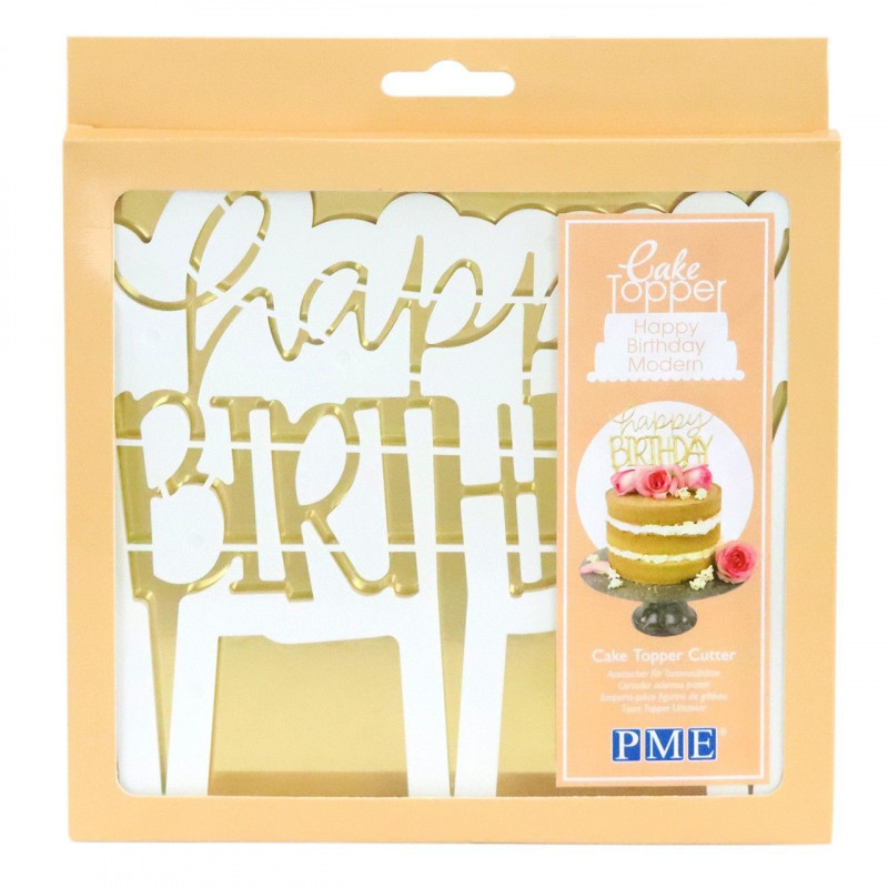 PME Utstickare, Cake Topper, Happy Birthday, modern.