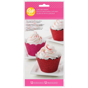 Wilton Cupcake Wrappers Glitter, röd och rosa