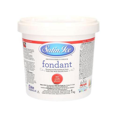 Satin Ice Sockerpasta, röd, vaniljsmak, 1 kg