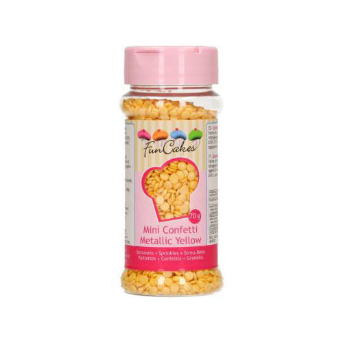 FunCakes Strössel Mini Confetti Gul, metallic