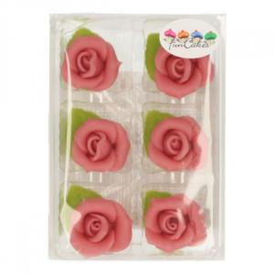FunCakes Marsipanrosor och blad, Rosa