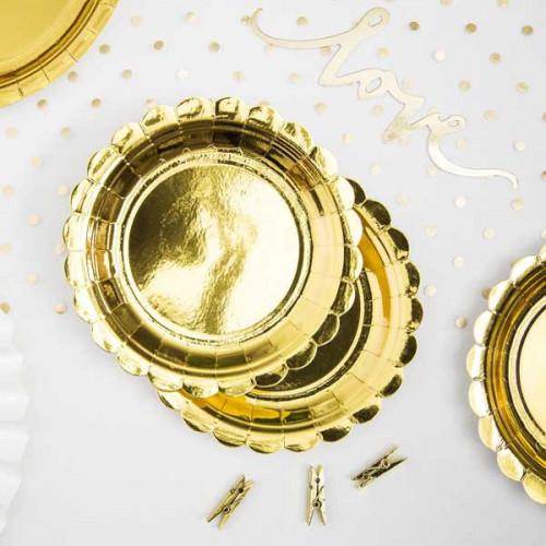 PartyDeco Papperstallrikar, Guld