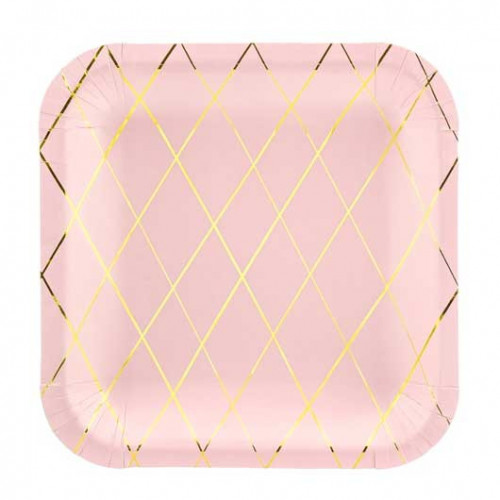 PartyDeco Papperstallrikar, kvadratiska, rosa och guld