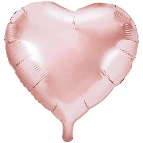 PartyDeco Folieballong Hjärta, Roséguld
