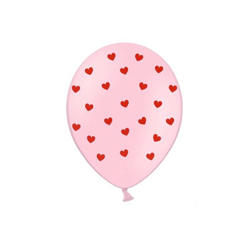 PartyDeco Ballonger, Babyrosa med Röda hjärtan