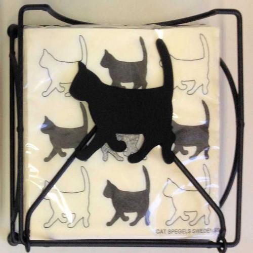 Spegels Servetthållare Katt, svart