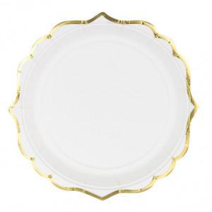 Vita Papperstallrikar med Guldkant