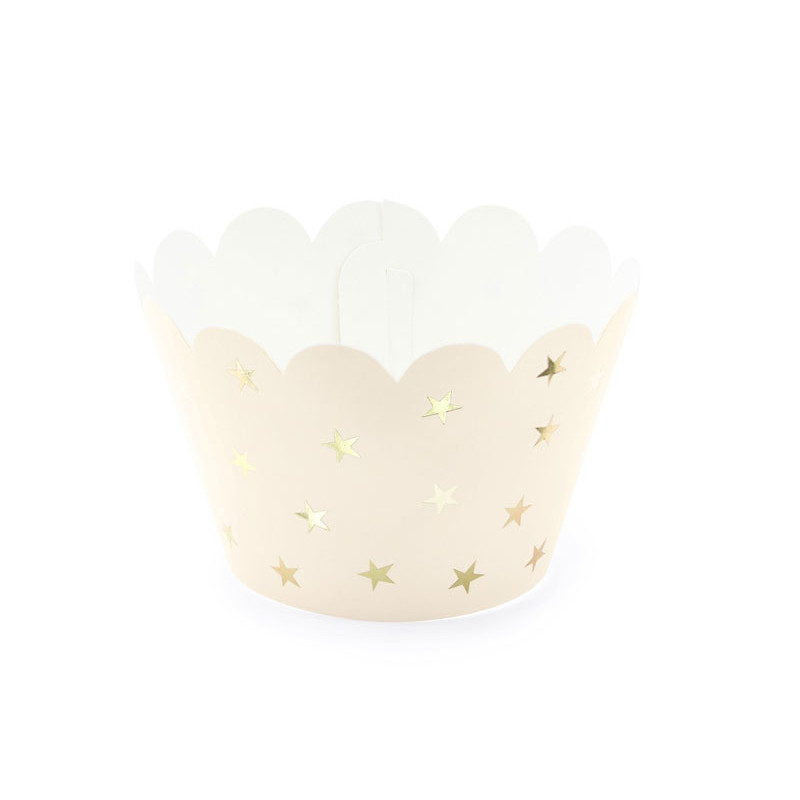 PartyDeco Cupcake Wrappers, Peach med Guldstjärnor