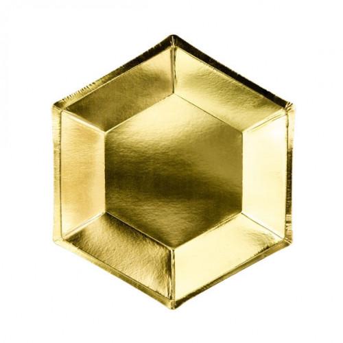 PartyDeco Papperstallrikar, Hexagon Guld