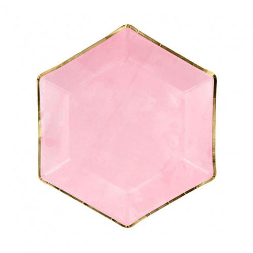 PartyDeco Papperstallrikar, Hexagon Rosa