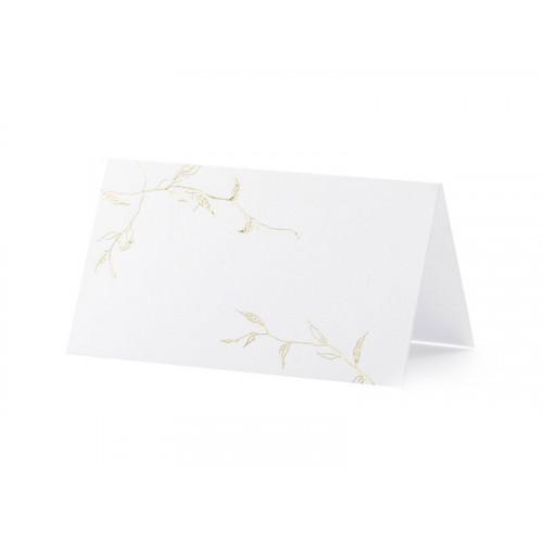 PartyDeco Placeringskort, Vita med guldram