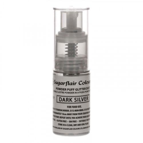 Sugarflair Ätbar Glitterspray, Dark Silver