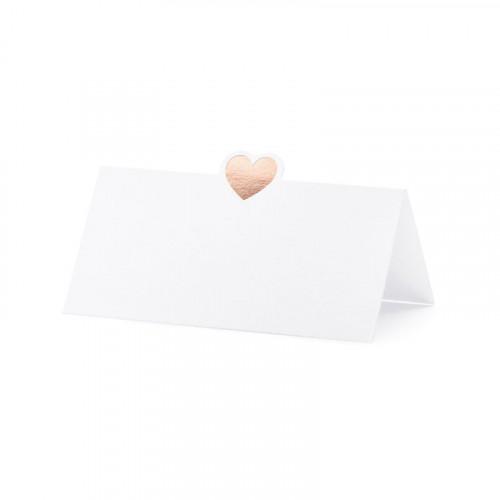 PartyDeco Placeringskort, Hjärta Roséguld