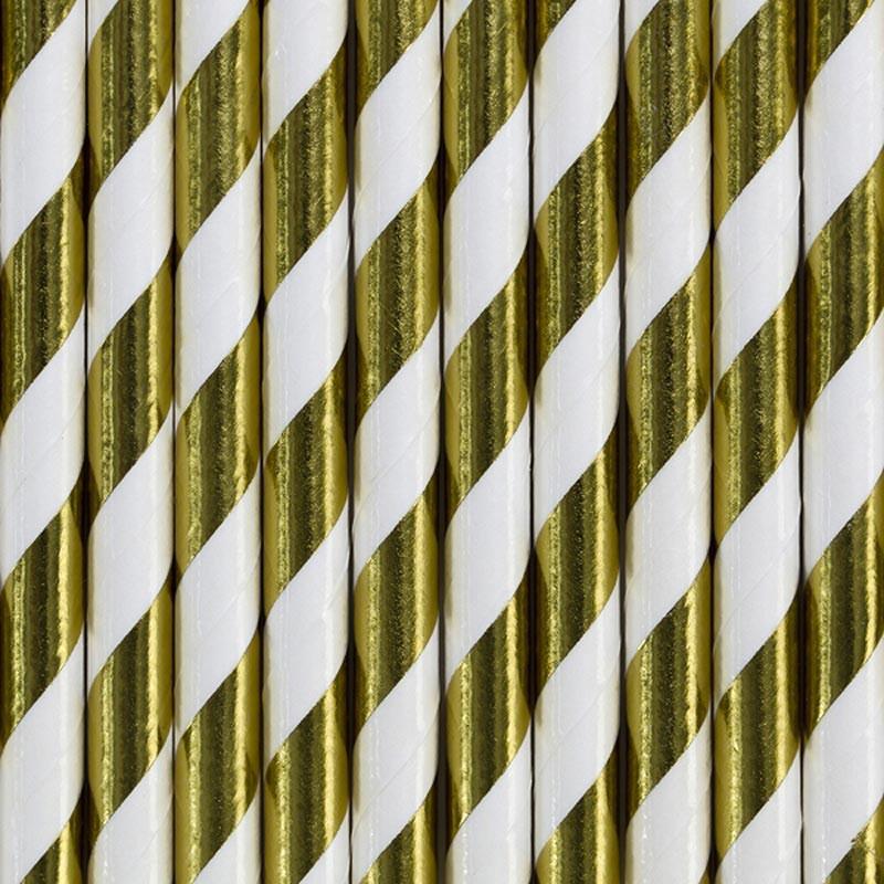 Guldrandiga Papperssugrör 10 st - Party Deco