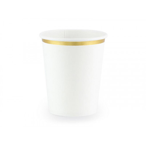 Pappersmuggar i vitt och guld 6 st- Party Deco