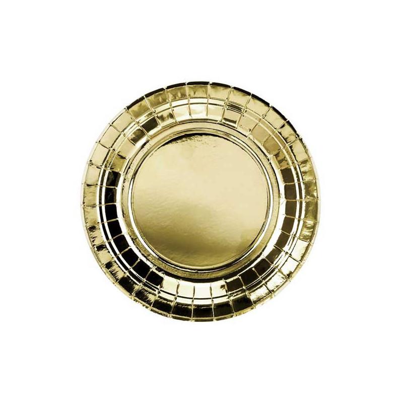 Papperstallrikar Guld Ø18 cm - PartyDeco