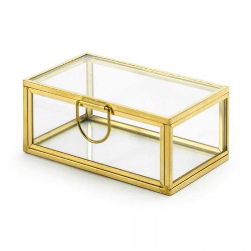 Ringbox i glas, Guld - PartyDeco