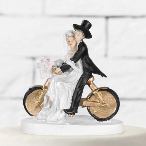 Tårtdekoration Brudpar, nygifta på cykel - PartyDeco