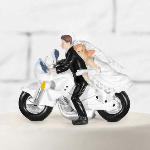Tårtdekoration Brudpar, nygifta på motorcykel - PartyDeco