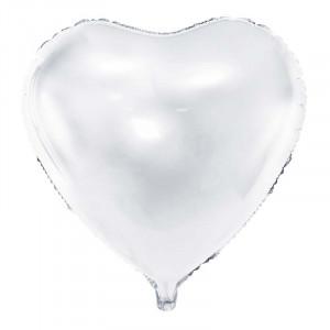 Folieballong Hjärta, vit - PartyDeco