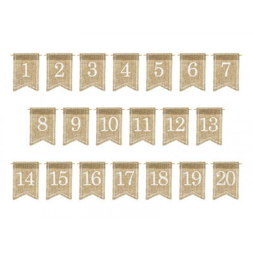 Placeringskort Bordsnumrering, jute - PartyDeco