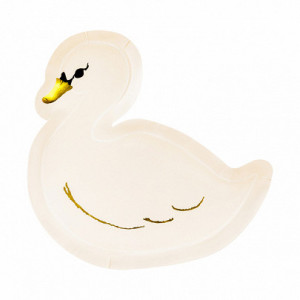Papperstallrikar Lovely Swan - PartyDeco