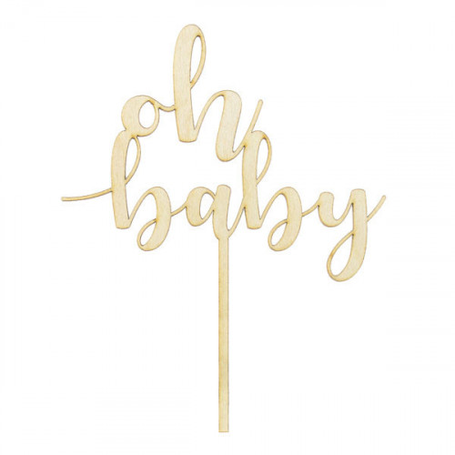 Cake Topper i Trä Oh Baby - PartyDeco