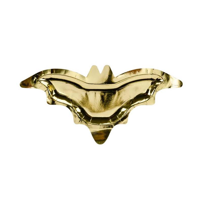 Papperstallrikar Fladdermus, Guld - PartyDeco
