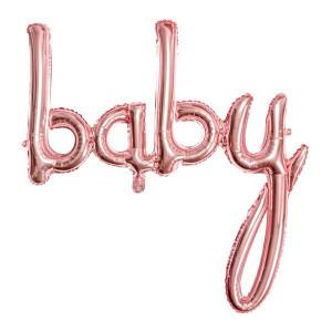 Folieballong Baby, Roséguld - PartyDeco