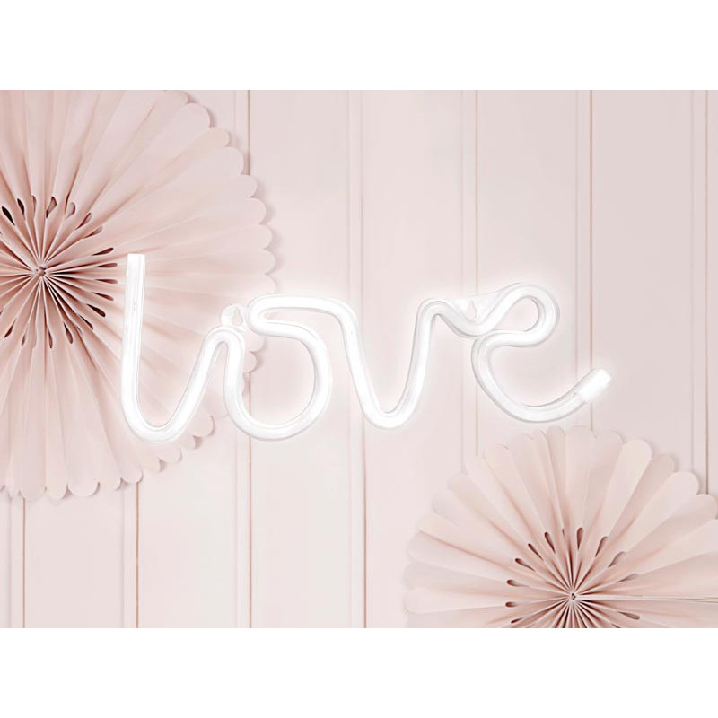 Neon LED Love, Vit - PartyDeco