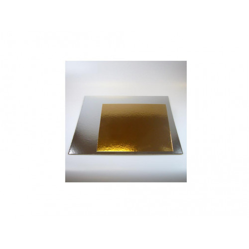 Tårtbricka guld och silver, kvadratisk