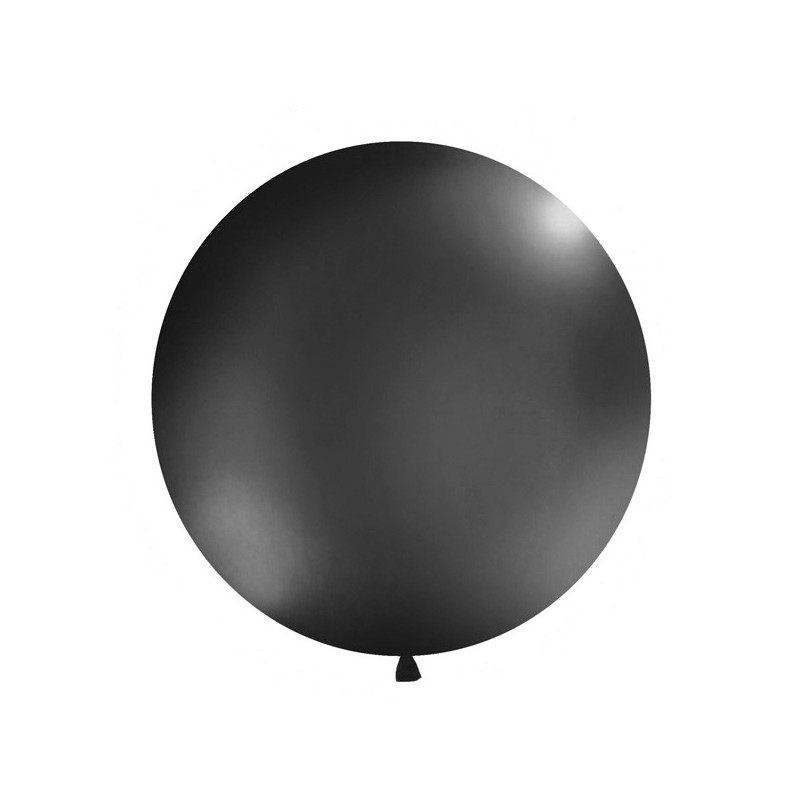 Rund Ballong Pastell Svart, 1 m - PartyDeco