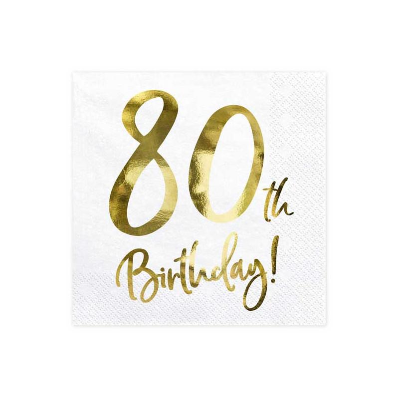 Partydeco Servetter 80th Birthday