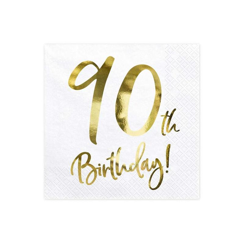 Partydeco Servetter 90th Birthday