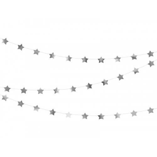 Girlang Stjärnor i Silver - PartyDeco