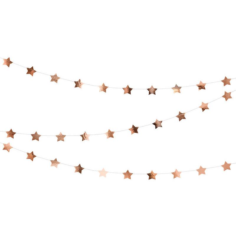 Girlang Stjärnor i Roséguld - PartyDeco