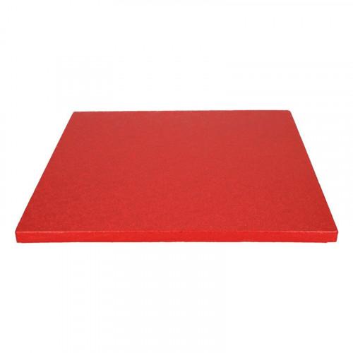 Röd tårtbricka kvadratisk 30,5 cm