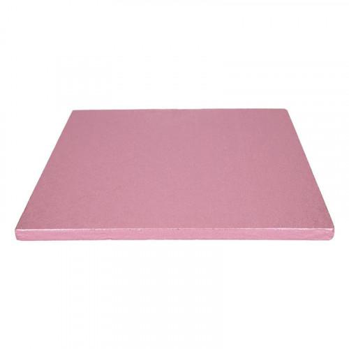 Rosa tårtbricka kvadratisk 30,5 cm