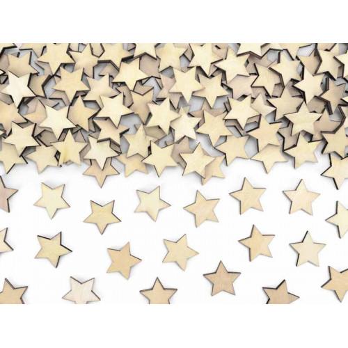 Konfetti stjärnor i trä - PartyDeco