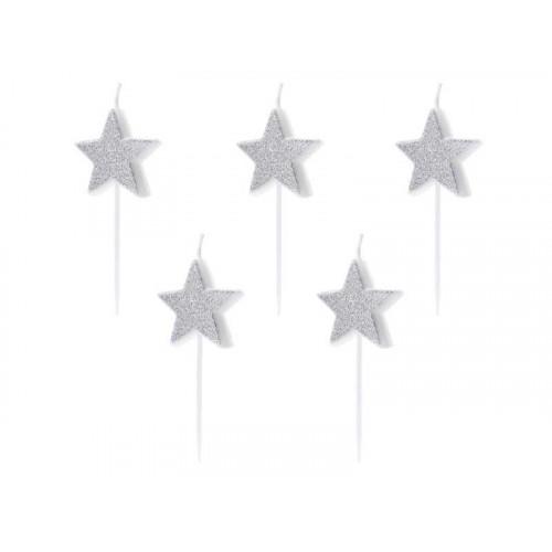 Tårtljus Stjärnor Silver - PartyDeco