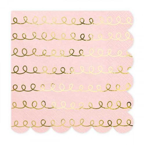 Servetter rosa & guld - PartyDeco