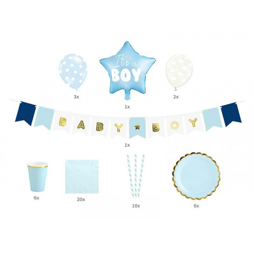 Babyshower Set, blått - PartyDeco