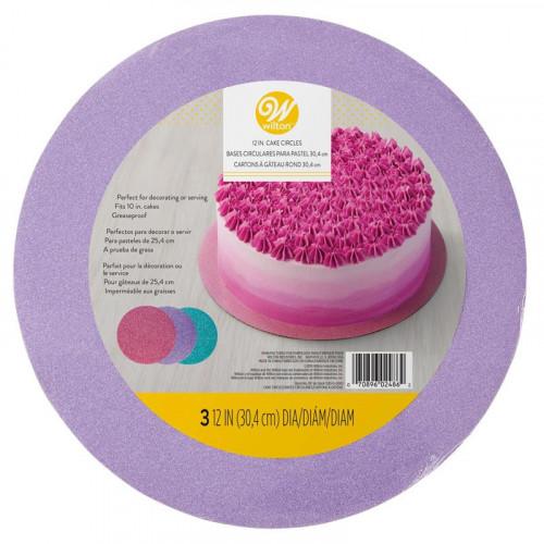 Glittriga Tårtbrickor rosa, lila & turkos 30,4 cm