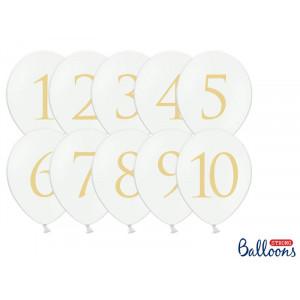 Vita ballonger med siffror - PartyDeco
