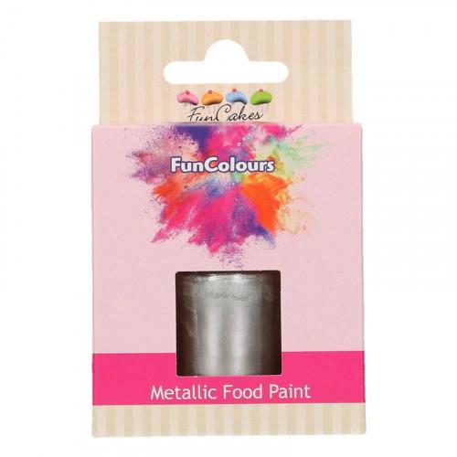 Ätbar Färg Mörk Silver Metallic - FunCakes