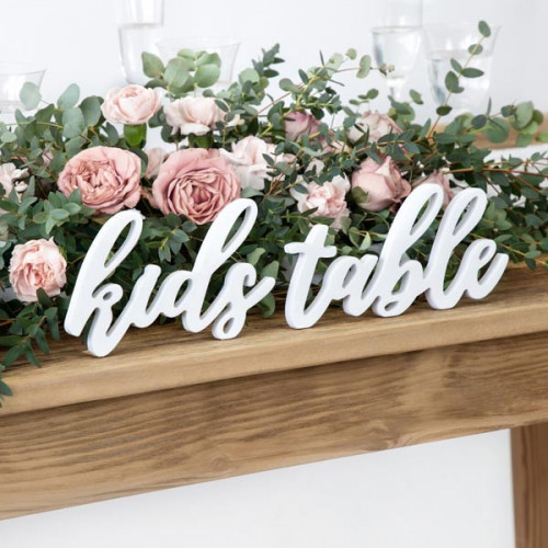Bordsdekoration i vitt trä, Kids table - PartyDeco