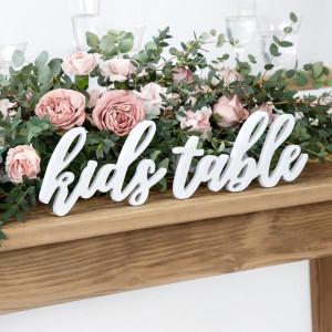Bordsdekoration i vitt trä, Kids table - PartyDeco